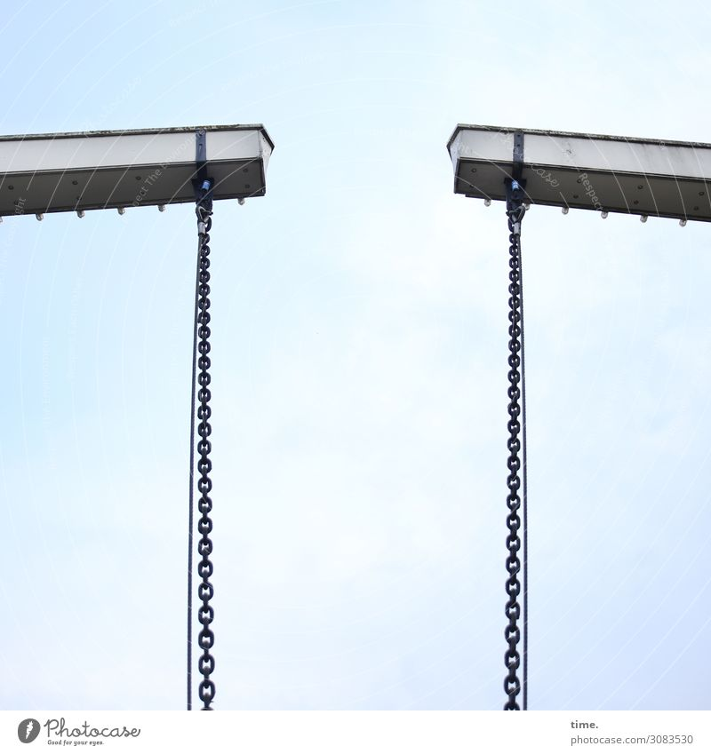 chain reaction Sky Clouds Bridge Manmade structures Architecture Chain Drawbridge Steel carrier Transport Navigation Hang Tall Cold Might Safety Protection