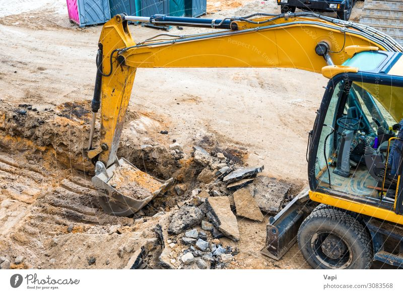 Bulldozer at construction site Leisure and hobbies Expedition House building Work and employment Profession Industry Construction site Energy industry Business