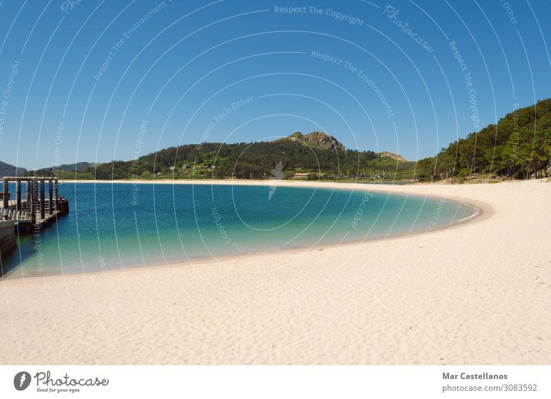Beach landscape, Beach of Rodas, Cies Islands. Vacation & Travel Nature Summer Blue Colour Green Landscape Sun Ocean Relaxation Spring Coast Tourism Freedom