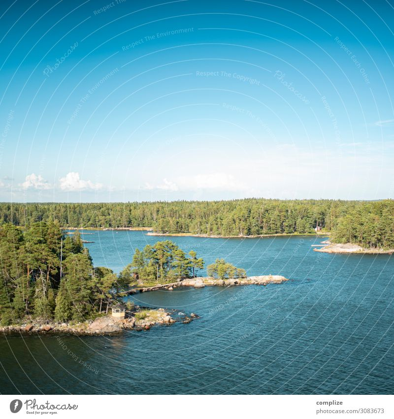 Baltic Sea islands with small bridge in Finland Vacation & Travel Tourism Summer Summer vacation Environment Nature Sun Climate Plant Forest Hill Rock Waves