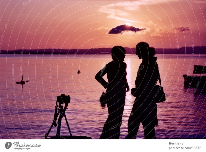 Kitsch in the evening Dusk Photography Tripod Clouds False Ocean Woman Man Couple Sun In pairs