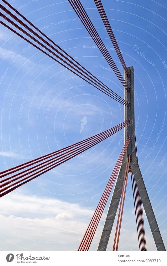 Sky Blue White Red Clouds Architecture Bridge Tall Concrete Rope Manmade structures Rhine Pylon Federal highway Wesel Cable-stayed bridge
