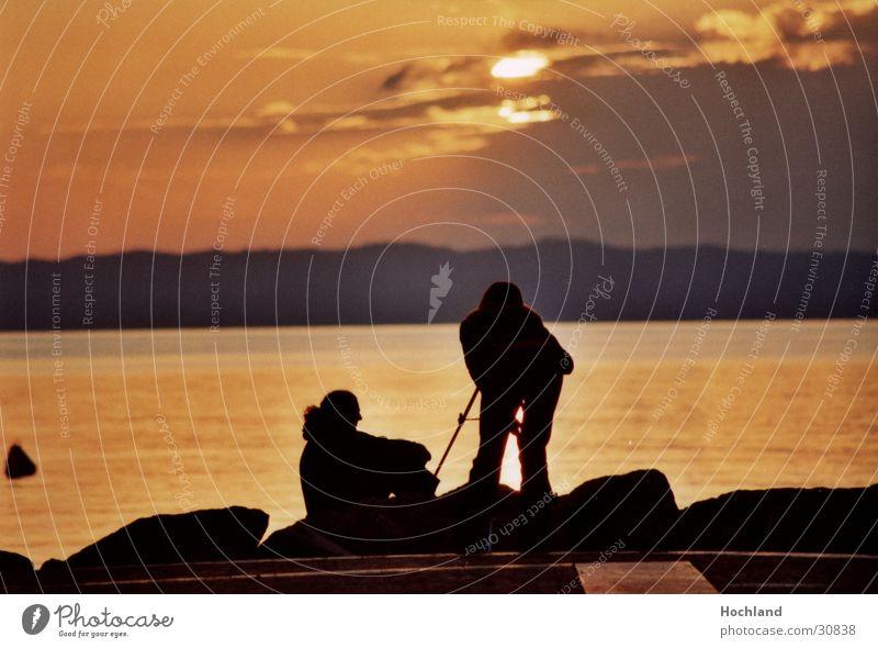 Woman Man Sun Ocean Calm Clouds Photography Dusk Affection Tripod