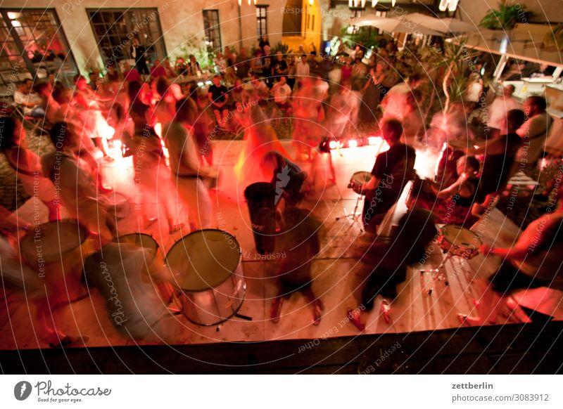 Drumming session in the Grauer Hof Evening aschersleben Movement Motion blur Dark Dynamics grey courtyard Night Samba dancer Dance Dance event Drummer Techno