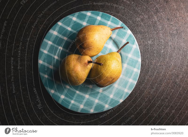Pears on a plate Food Fruit Nutrition Organic produce Vegetarian diet Healthy Eating Select Fresh 3 Plate Vitamin Colour photo Interior shot Deserted