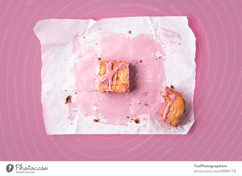 Slice of pink brownie and traces of the whole cake Cake Dessert Candy Chocolate Eating Animal tracks Happy Tradition above view Baking Bakery baking paper
