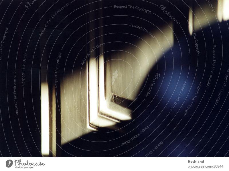 Secret behind the door Door Mysterious Wood Strip of light Eerie Obscure Blue carpentry