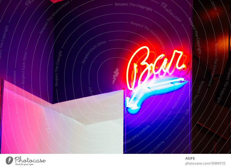 Bar sign in neon lights Design Lamp Sign Characters Signage Warning sign Dark Bright Retro Blue Pink Red Colour bar arrow Glow Symbols and metaphors Typography