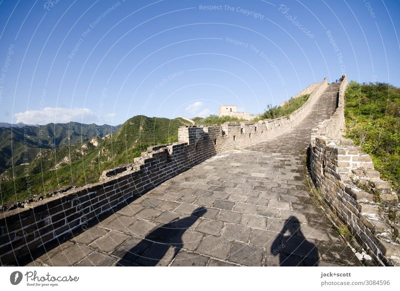 On the wall Sky Far-off places Mountain Wall (building) Wall (barrier) Horizon Beautiful weather Historic Tourist Attraction Landmark Beijing Great wall
