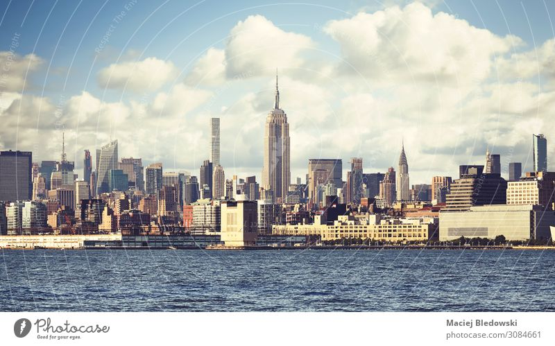 New York City waterfront skyline, USA. Vacation & Travel Town House (Residential Structure) Building Living or residing Retro Vantage point High-rise River