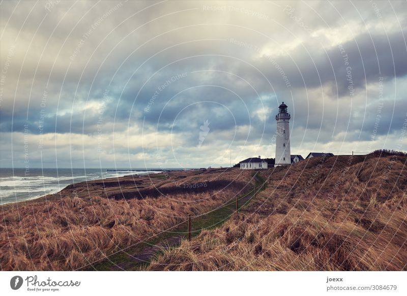 Don't go down Landscape Sky Clouds Weather Meadow Waves Coast Ocean Lighthouse Far-off places Historic Tall Blue Brown White Homesickness Wanderlust Horizon