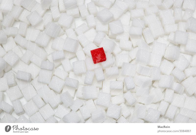 lump sugar Food Nutrition Illness Sweet Stack Harmful to health Symbols and metaphors Unhealthy Lump sugar Sugar White Red Side by side Studio shot Deserted