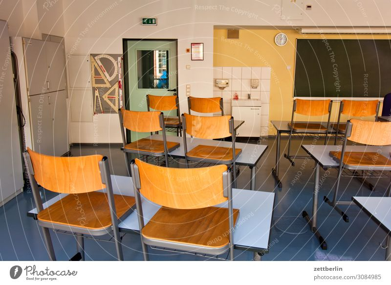 classroom Education Detail Classroom Light Deserted Empty School School building Town Copy Space Room Interior design Professional training Blackboard Table