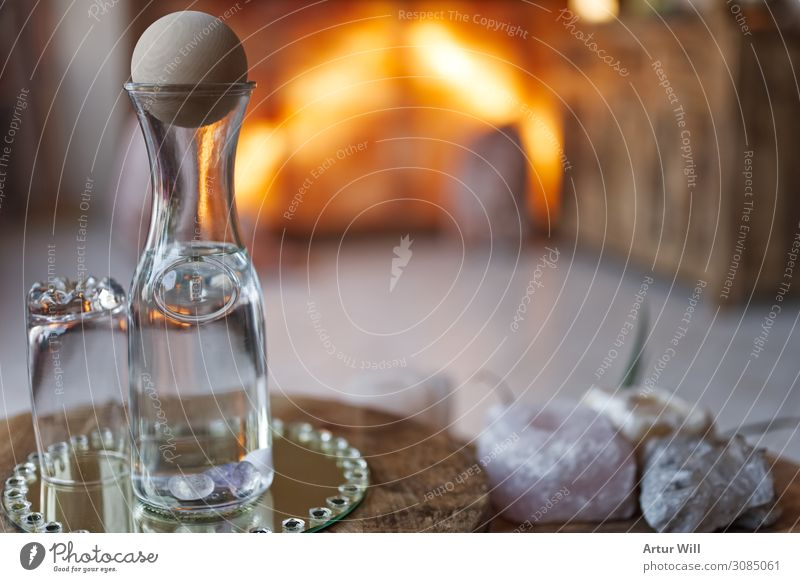 thirsty Beverage Drinking water Bottle Glass Decoration Wood Fresh Healthy Wet Life Thirst Design Colour photo Interior shot Close-up Detail Copy Space right