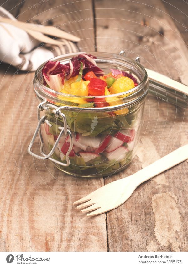Tasty vegetarian salad in a jar Lettuce Salad Breakfast Lunch Organic produce Vegetarian diet Glass Healthy Eating Delicious Fitness appetizer bell pepper