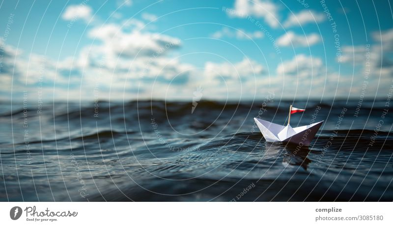 Small paper ship on the high seas. Panorama. Healthy Alternative medicine Relaxation Calm Swimming & Bathing Leisure and hobbies Playing Handicraft Model-making