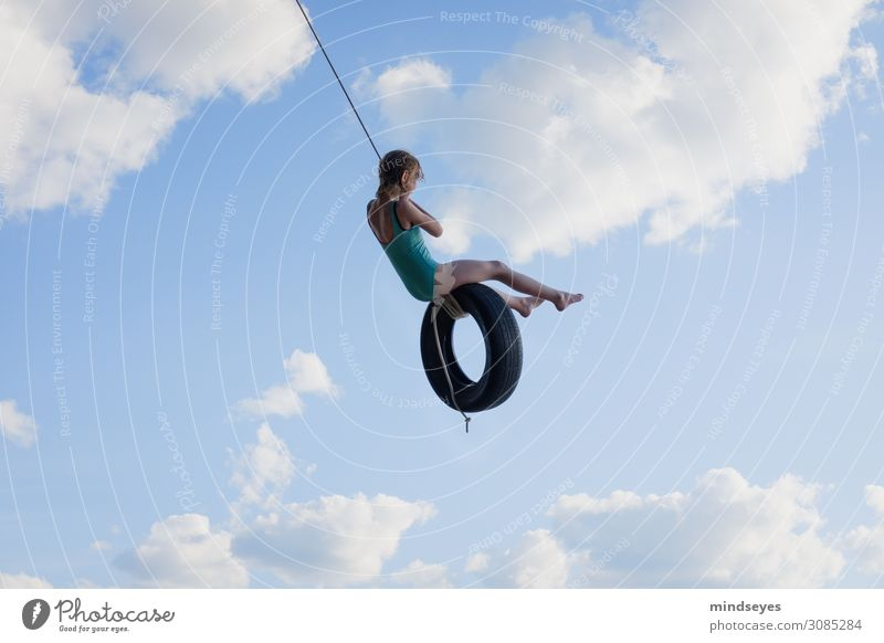 Swing in the clouds Playing To swing Summer Summer vacation Beach Ocean Island Sky Clouds Movement Flying Vacation & Travel Sports Dream Happiness Happy