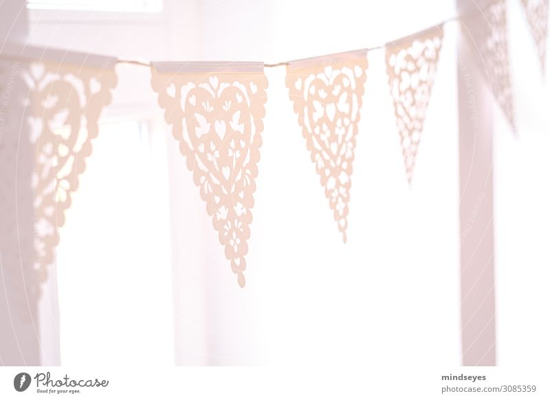 Pink Garland Breakfast Style Girl Party Paper Decoration Paper chain Lace Feasts & Celebrations Embellish Flag Bright spot Glittering Illuminate Esthetic