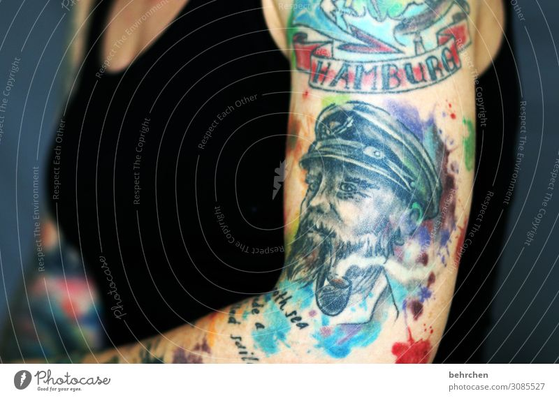 a smooth sea never... Woman Adults Body Breasts Arm 30 - 45 years Exceptional Beautiful Tattoo Hamburg Seaman Impressive Brave Self-confident Art Multicoloured