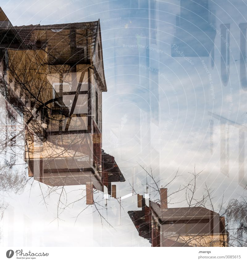 Abstract old building Living or residing Flat (apartment) House (Residential Structure) Sky Beautiful weather Architecture Old building Half-timbered house