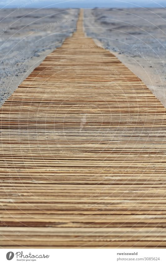 Wooden walkway on gravelly sand desert-MIran-Xinjiang-China-0478 Vacation & Travel Nature Blue Landscape Sun Relaxation Loneliness Calm Far-off places