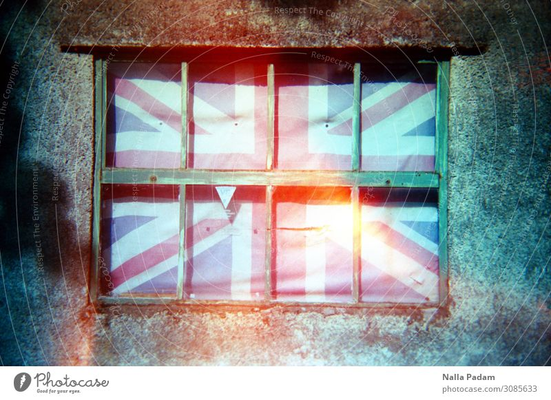 Britain Keswick England Town Stone Wood Line Stripe Flag Blue Red White Emotions Exclusion Crisis brexite Great Britain Encase barricade Colour photo