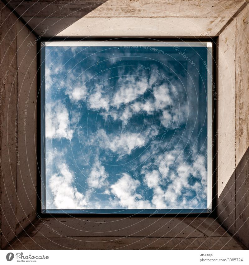 Sky Clouds Window Above Vantage point Esthetic Beautiful weather Future Concrete Frame