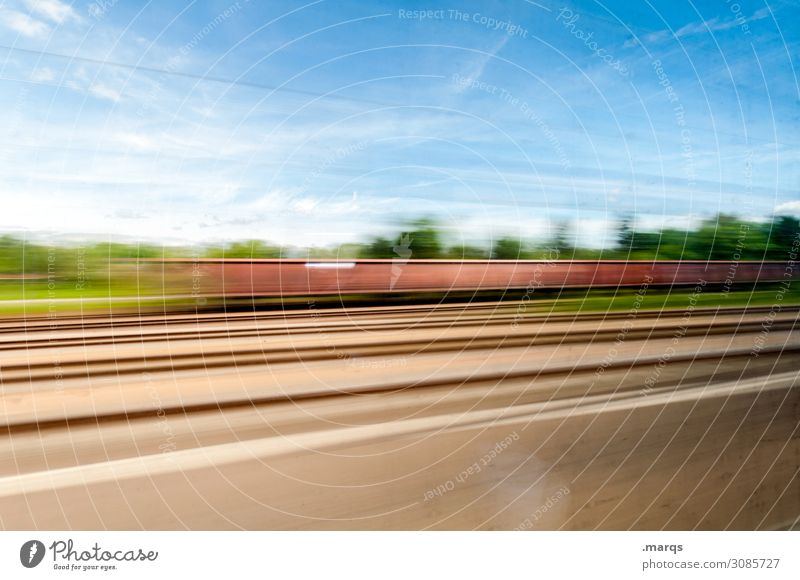 Motion blurred Logistics Nature Sky Clouds Beautiful weather Transport Rail transport Freight train Railroad tracks Driving Speed Movement Mobility