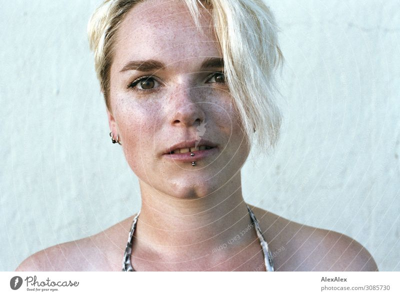 Portrait of a young woman with freckles and dimples Style pretty Young woman Youth (Young adults) Freckles pit 18 - 30 years Adults Piercing Blonde Looking