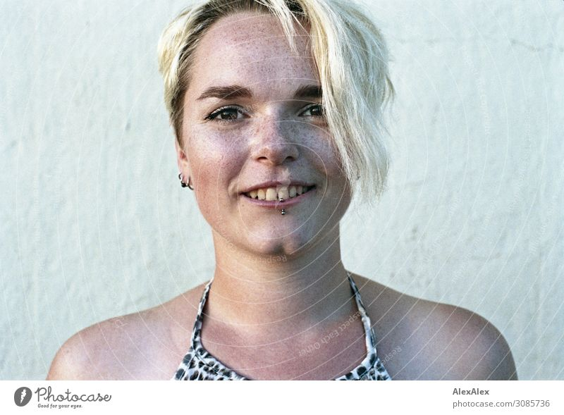 Portrait of young smiling woman with freckles and dimples Joy pretty Life Harmonious Young woman Youth (Young adults) Face Freckles 18 - 30 years Adults