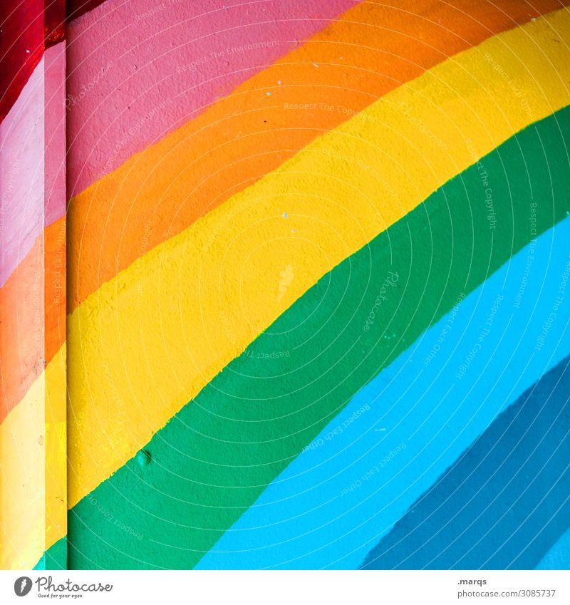 rrggbbb Wall (building) Rainbow Prismatic colors Dye Infancy Kindergarten Colour photo Multicoloured Exterior shot Close-up Deserted Copy Space left