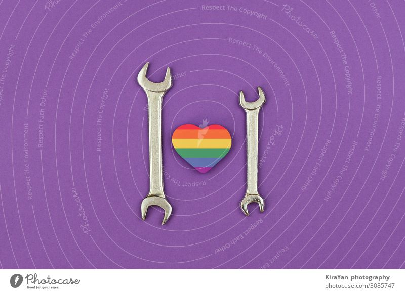 Happy LGBT Fathers Day. Two wrenches with rainbow heart Adults Love Family & Relations Feasts & Celebrations Couple Copy Space Sex Heart Gift Wedding Card Flag