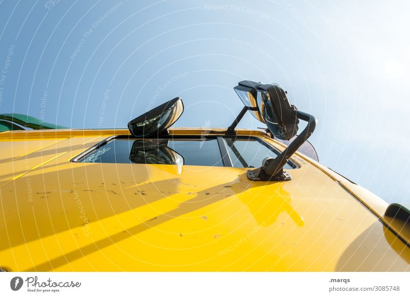 Brummi On the road again Cloudless sky Transport Means of transport Logistics Truck Yellow Date Deliver Colour photo Exterior shot Deserted Copy Space right