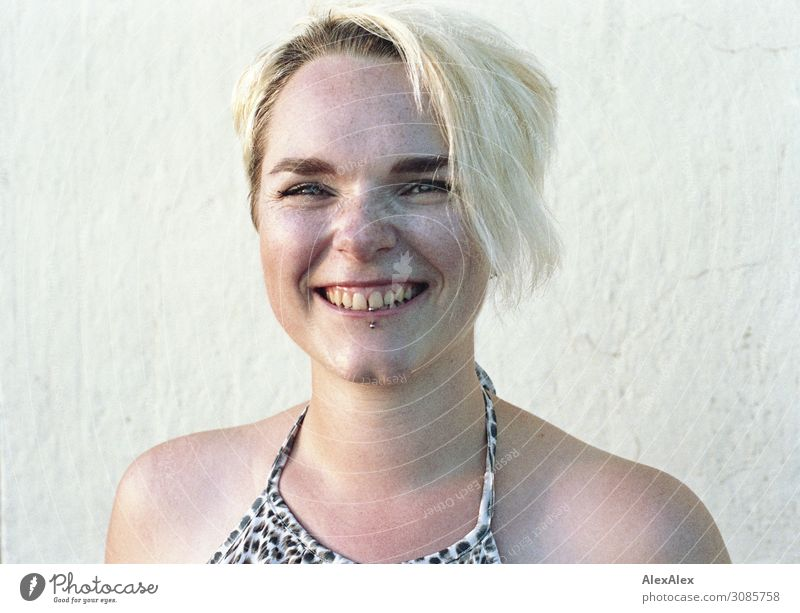 Portrait of smiling young woman with freckles and dimples Lifestyle Joy pretty Freckles pit Young woman Youth (Young adults) Face 18 - 30 years Adults Summer