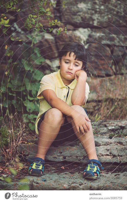 Portrait of sad little boy Child Human being Loneliness Sadness Boy (child) Freedom Think Moody Masculine Infancy Gloomy Fitness 8 - 13 years Anger Stress