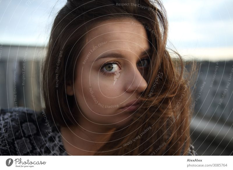 Portrait of a young woman on a roof Style Beautiful Life Young woman Youth (Young adults) Face 18 - 30 years Adults Summer Town Brunette Long-haired Looking