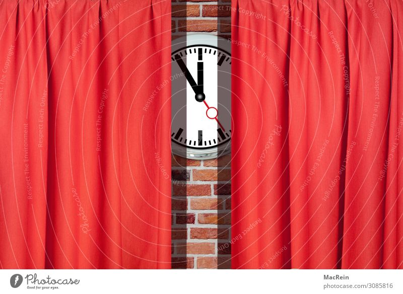 theatre curtain Art Theatre Stage Culture Event Shows Concert Opera Opera house Singer Sign Red Prompt Stage play Drape Clock Colour photo Interior shot
