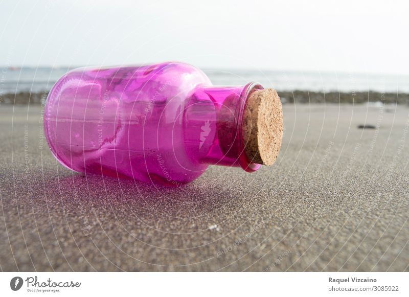 Pink glass bottle Sand Summer Coast Beach Vacation & Travel Brown Calm Colour photo Exterior shot Copy Space right Sunlight Shallow depth of field