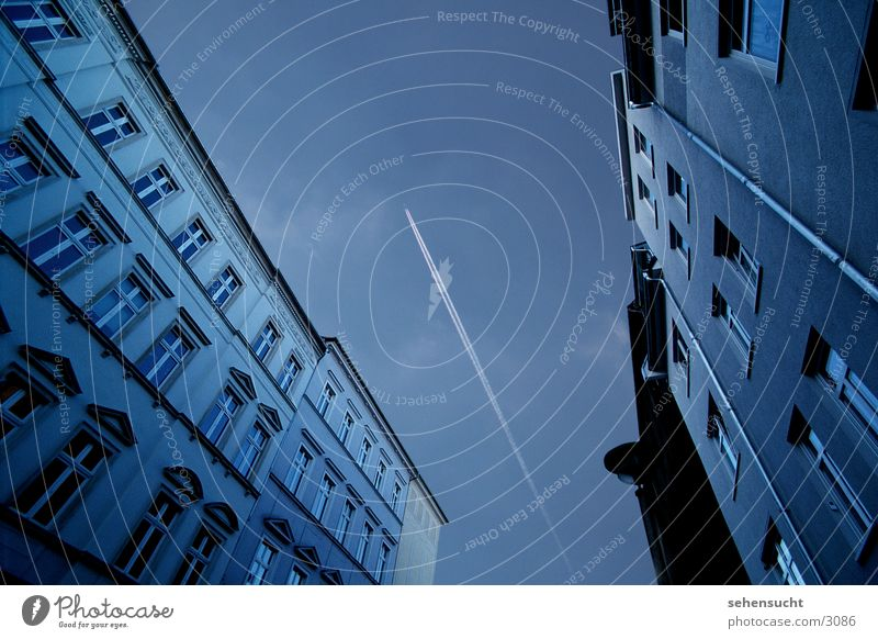 skyline cottbus Wide angle Airplane Town House (Residential Structure) Window Architecture Sky Blue Street condone strip
