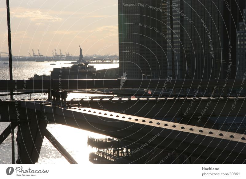 new york Brooklyn Bridge Steel carrier Dusk Back-light Architecture Rivet picture diagonals Statue of Liberty