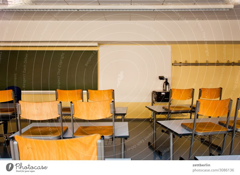 Empty classroom Education Detail Classroom Light Deserted School School building Town Copy Space Room Interior design Professional training Blackboard Table