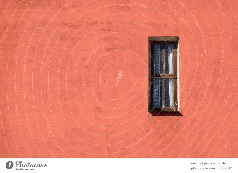 window on the red facade of the building in the city Window Red Facade Building Exterior shot Balcony House (Residential Structure) Home Street City Colour