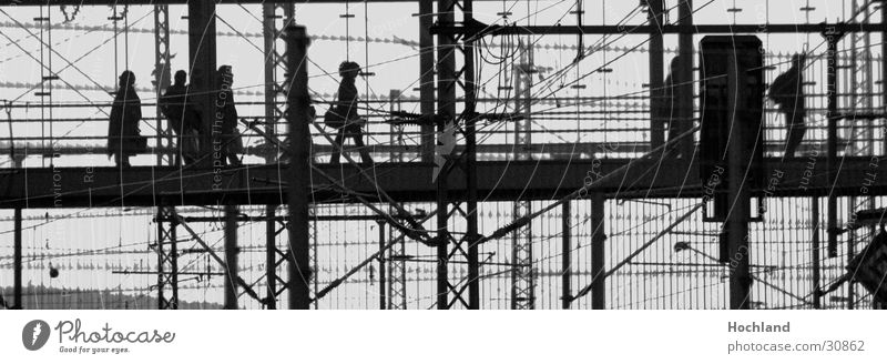 Human being Far-off places Glass Railroad Bridge In transit Carrier Steel carrier Wire cable Railroad crossing