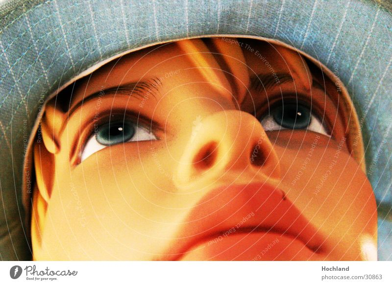 Doll blue sheltered Woman Lips Face Eyes Hair and hairstyles Hat Portrait photograph Face of a woman Woman`s mouth Woman's nose Women's eyes Partially visible