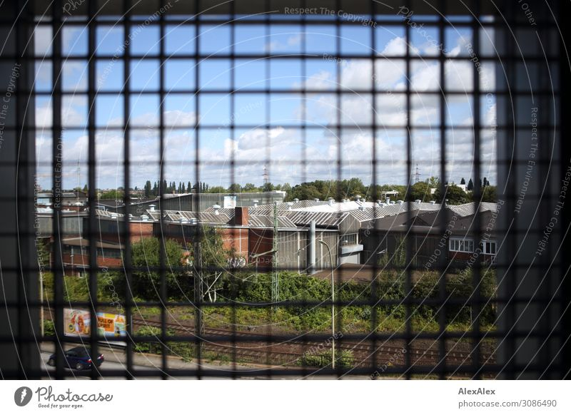 View of a factory through a lattice window - grid search Industry Grating Metal grid Grid Railroad Railroad tracks Factory Factory hall View from a window