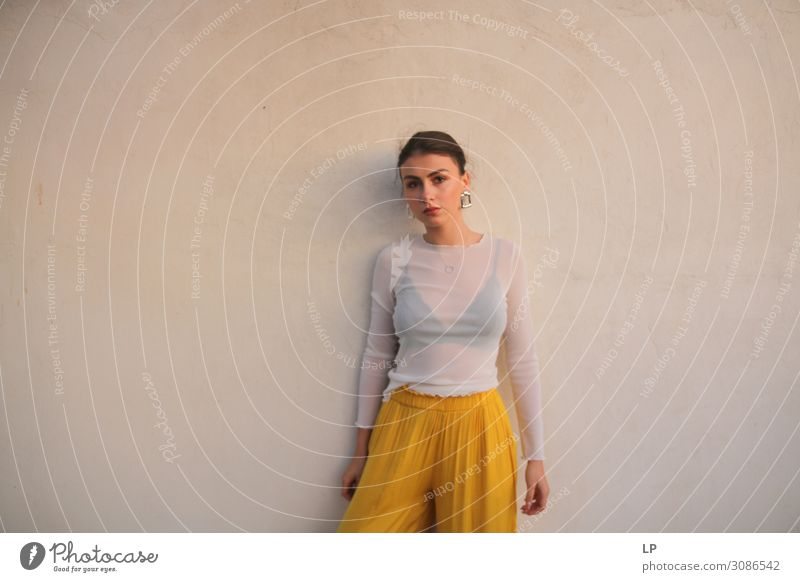 G standing against the wall Lifestyle Elegant Style Exotic Beautiful Well-being Contentment Senses Calm Human being Feminine Young woman Youth (Young adults)