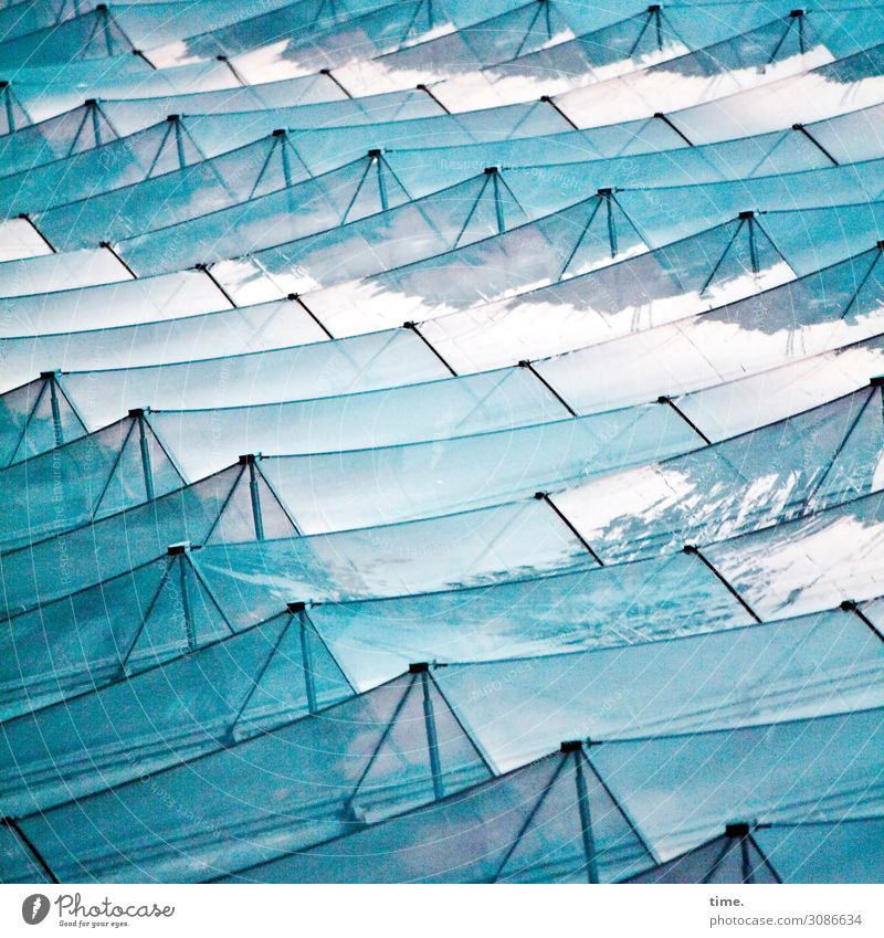 glass waves Art Work of art Hamburg Manmade structures Architecture Facade Glass Metal Line Stripe Network Esthetic Exceptional Blue Turquoise Movement Design