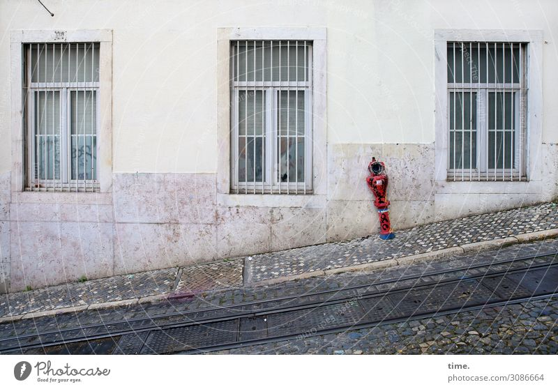 Red House (Residential Structure) Window Street Wall (building) Wall (barrier) Gray Arrangement Creativity Perspective Discover Planning Protection Safety
