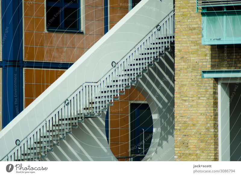 twilight zone Architecture Beautiful weather Downtown Berlin Office building Stairs Facade Handrail Line Stripe Geometry Sharp-edged Firm Uniqueness Modern Town