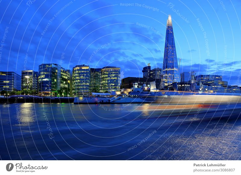London in blue Vacation & Travel Tourism Sightseeing City trip Office Environment Landscape Water Sky Clouds Night sky River Themse England Great Britain Europe